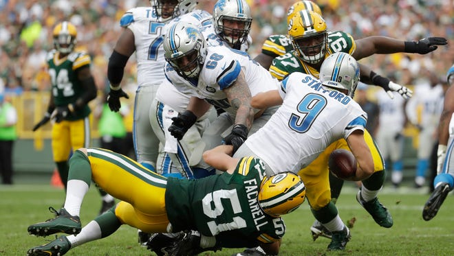 The Green Bay Packers' Kyler Fackrell sacks Detroit Lions quarterback Matthew Stafford during the second half Sunday, Sept. 25, 2016, in Green Bay, Wis.