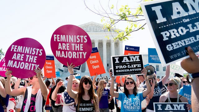 Pro-life and pro-choice demonstrators at the Supreme Court.