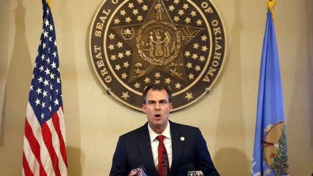 Gov. Kevin Stitt announces his plans allow some Oklahoma businesses to reopen during a press conference at the state Capitol in Oklahoma City, Wednesday, April 22, 2020. Sarah Phipps/The Oklahoman