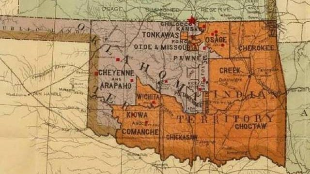 This image is a U.S. Supreme Court exhibit showing boundaries before Oklahoma's statehood. PROVIDED