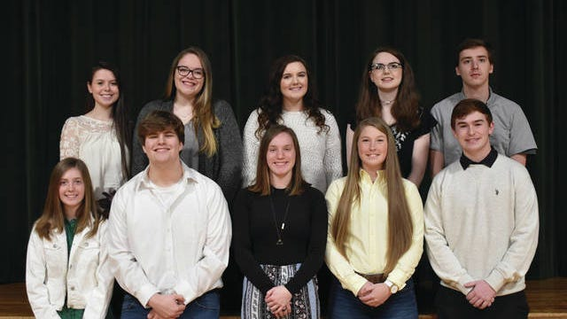 Santa Fe Unit School announces its Top 10 for the Class of 2020. The top graduates include, front from left: Valedictorian Camdyn Cooper, salutatorian Chad Gordon, Shelby Rector (No. 3), Jenna McFarland (No. 4) and James Eric Hill (No. 5). Back row: Alivia Hill (No. 6), Madison Houser (No. 7), Madeline Carroll (No. 8), Emmalee Sinclair (No. 9), Michael Chadwell (No. 10). The Daily Herald plans to run pictures of the top 10s of all Maury County high schools before graduation. Mt. Pleasant High School's Top 10 appeared in the Feb. 13 edition of the newspaper; Culleoka Unit School on Feb. 19, Hampshire on Feb. 23 and Spring Hill on Feb. 26.