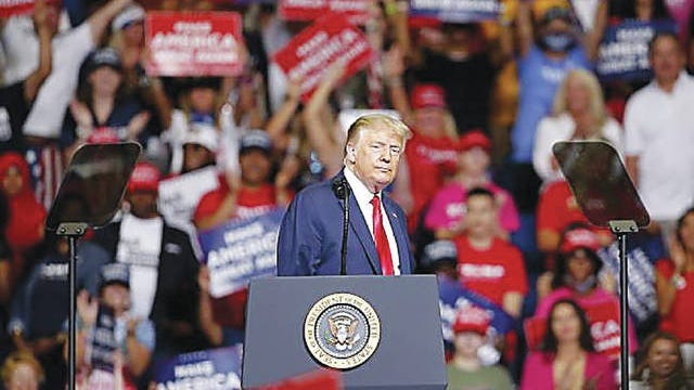 President Donald Trump speaks during a rally June 20 at the BOK Center in Tulsa. Sarah Phipps/The Oklahoman