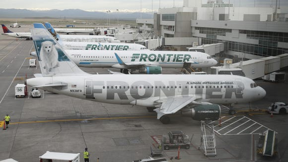 This file photo from May 15, 2017, shows Frontier Airlines