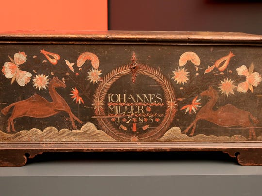 """Painted chest  for Johannes Miller from Lebanon County, Pa. in Winterthur's exhibition """"A Colorful Folk: Pennsylvania Germans and the Art of Everyday Life."""""""
