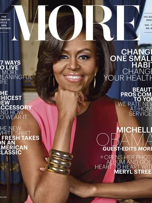 "First lady Michelle Obama graces the cover of the July/August issue of ""More."""