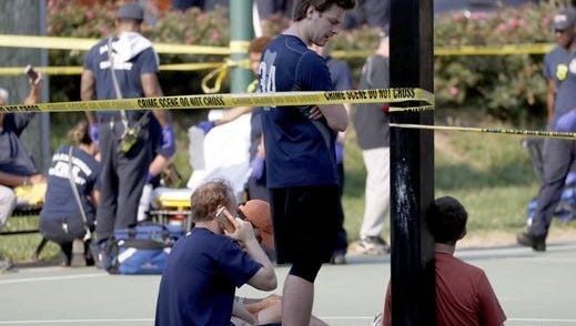 Scene from the shooting in Alexandria Wednesday.