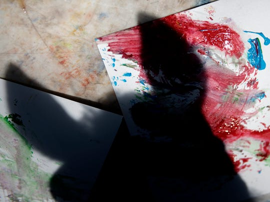 A shadow of Clifford's head is seen on his painting table during a demonstration on Thursday, May 24, 2018, at his owner Nancy Bailey's home in Charlotte. Clifford, a 27-year-old Morgan horse, creates abstract paintings by using his lips to push a sponge covered in paint across the canvass. Bailey, who is an artist herself, takes Clifford to events for kids and adults to demonstrate the horse's artistic ability.