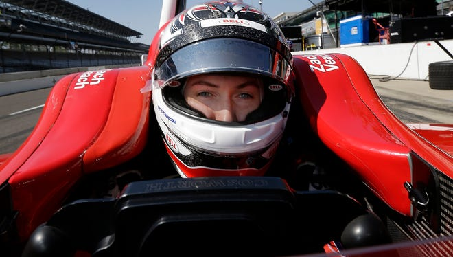 Indy Lights driver Zach Veach gets ready for the Indy Lights test session on Monday at the Indianapolis Motor Speedway.
