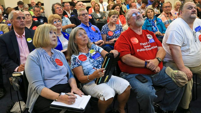 State workers filled up an overflow room in the Capitol Annex Monday afternoon for the third and final hearing of a report by PFM Consulting Group, a group retained by state government to offer recommendations for the state's failing public pension plan.