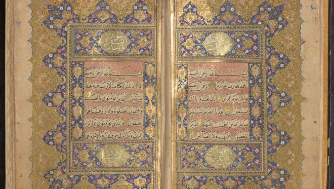An undated Quran in the exhibit.