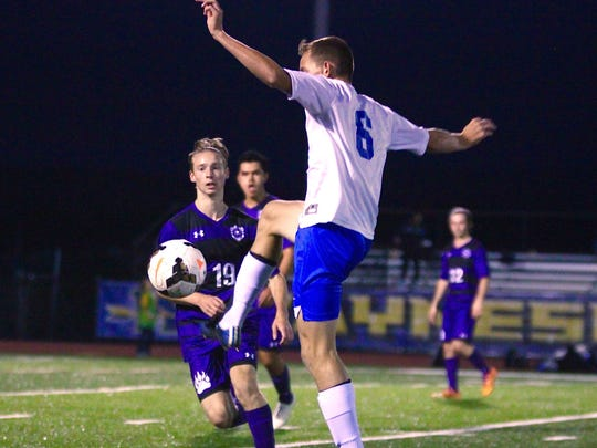 Waynesboro's Jack Estes makes a play with the ball during a game against Northern York on Tuesday, Oct. 4, 2016. The Indians won, 4-1.