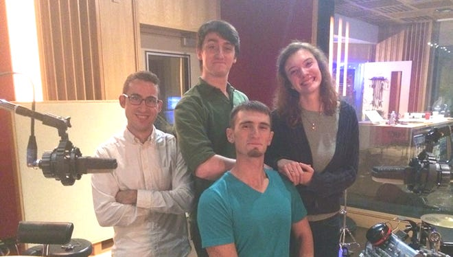 From left to right, Luke Kutler, Bryan Wakeman, Hannah Ruth Miller and David Wakeman taking a break from recording.