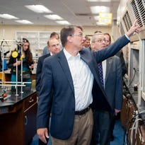 Gov. Pat McCrory tours a chemistry laboratory in the Natural Sciences Building at Western Carolina University. Just behind him are WCU Chancellor David Belcher and Richard Starnes, dean of the College of Arts and Sciences.