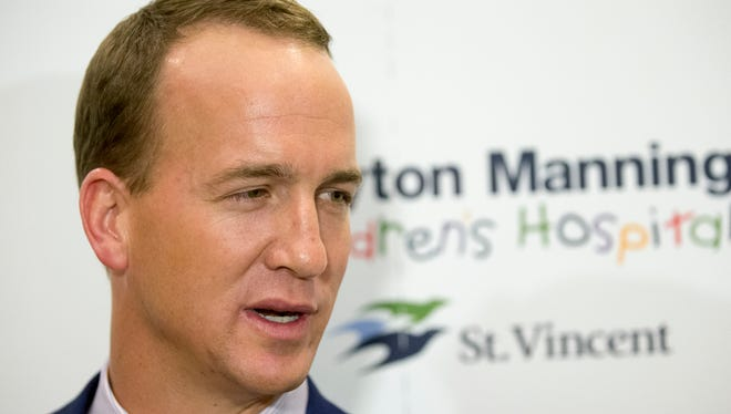 Peyton Manning, quarterback for the Denver Broncos and former Indianapolis Colts quarterback, spoke on Friday, May 8, 2015, before the evening's fundraising gala for the St. Vincent House for families of pediatric patients undergoing treatment at the Peyton Manning Children's Hospital at St. Vincent.