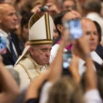 Pope Francis arrives to attend a prayer Tuesday on the occasion of the World Day of the Creation's care in St. Peter's Basilica at the Vatican.