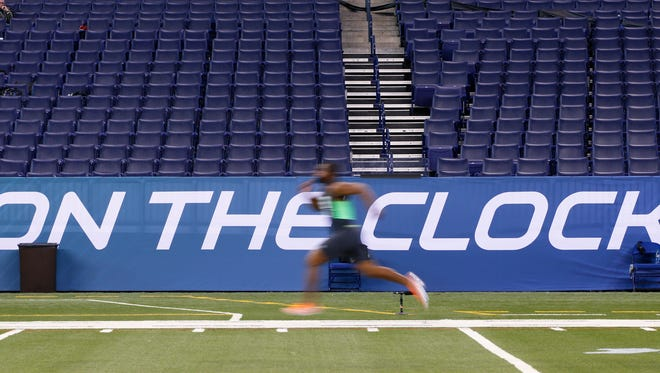 The NFL Scouting Combine at Lucas Oil Stadium in Indianapolis.