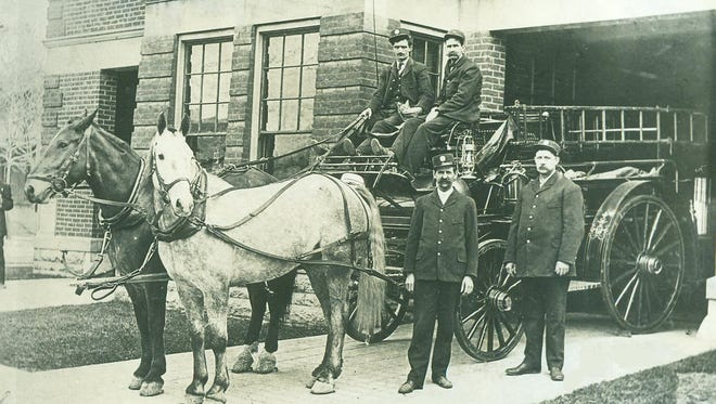 Proud steeds and crew at Richmond Fire Department Hose House Number 4. This structure at the southwest corner of South Ninth and E street still exists.