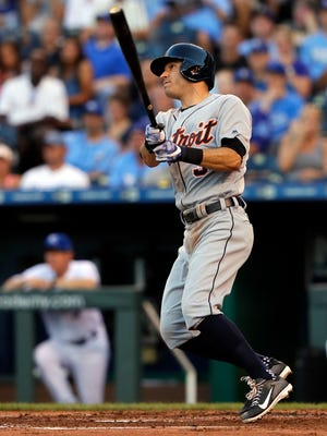Tigers second baseman Ian Kinsler hits his second triple of the game during the 3rd inning on Monday, July 17, 2017, in Kansas City, Mo.