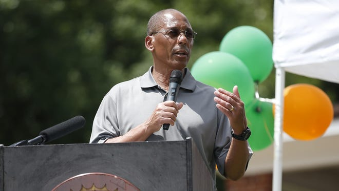 """FAMU football coach Alex Wood speaks during a ceremony for the unveiling of a historical marker for Coach Alonzo """"Jake"""" Gaither."""