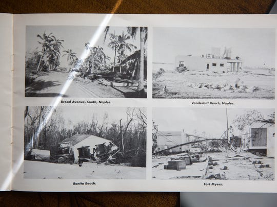 Vintage images from Heather Pilkenton's original copy of her grandfather Joe Coleman's photography booklet, documenting the aftermath of Hurricane Donna in 1960. Pilkenton has begun to document the aftermath of Hurricane Irma in the same way, revisiting the locations her grandfather photographed.