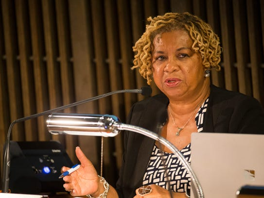 Wilmington City Council President Hanifa Shabazz speaks during a regular meeting of the council Thursday, Sept. 21, 2017, in the Council Chambers.