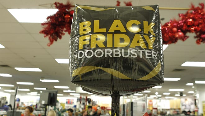 A Kohl's Department Store  shows its Black Friday Doorbuster sales sign on the day after Thanksgiving in 2016.