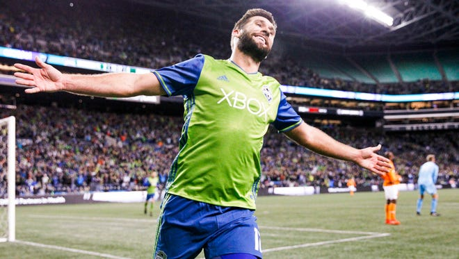 Seattle Sounders forward Will Bruin celebrates after scoring a goal against the Houston Dynamo during the second half of Thursday's Western Conference finals game.