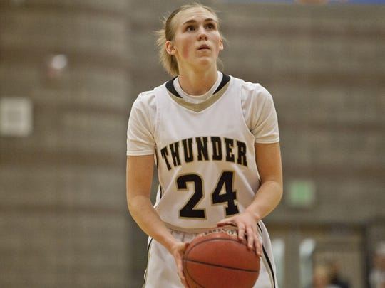 Ashley Beckstrand, shown here on the 2016-2017 Desert Hills women's  basketball team, will transfer to Dixie State from Division I BYU to play for the Trailblazers this upcoming season. Beckstrand averaged 24.3 points per game in her final year with Desert Hills.