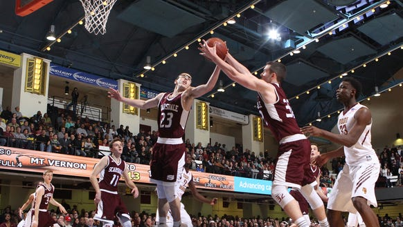 Will Hoffman (32) and Nash Goldman (23) are two of the top returning players for Scarsdale, which lost to Mount Vernon in overtime in the Section 1 Class AA championship game at the County Center.