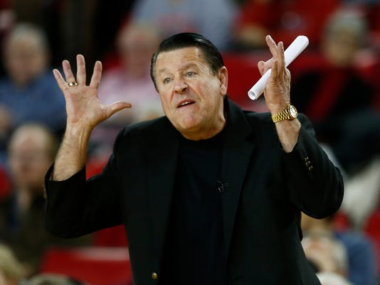 Georgia head coach Andy Landers directs his team in the first half of an NCAA college basketball game against the South Carolina, Thursday, Feb. 5, 2015, in Athens, Ga.  (AP Photo/John Bazemore)