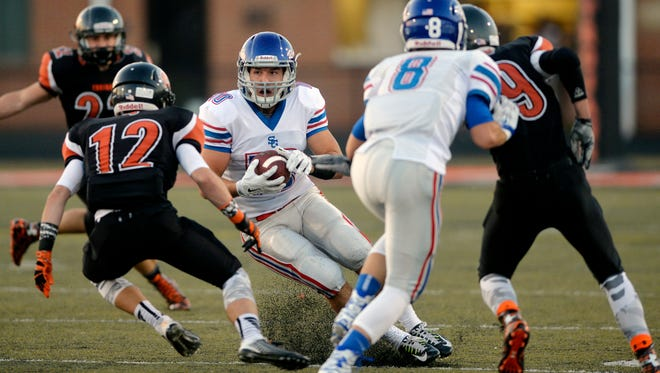 Spring Grove's Nick Erickson runs the ball against York Suburban during a Sept. 18 game at York Suburban. Following a 5-5 record in 2015 and a 4-3 mark in YAIAA Division I play, Spring Grove qualified for the District 3 Class AAA tournament as a No. 14 seed, and will face No. 3 Manheim Central tonight at 7 p.m.