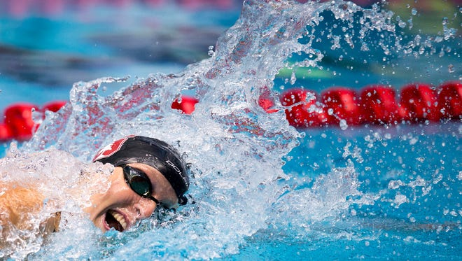 Katie Ledecky wins the women's 200 meter freestyle with a time of 1:54.84, in the National Championships and World Championship Trials, IUPUI Natatorium, Wednesday, June 28, 2017.
