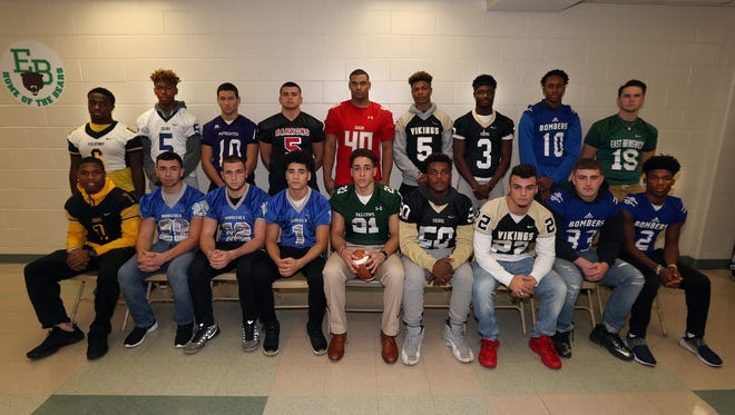 The Home News Tribune's 2017 All-GMC Football Defense: BACK ROW (L-R): Jevon Buckmire, Piscataway; Kimani Smith, Colonia; Liam Knowles, Old Bridge; Nick Nyers, Woodbridge; Branden Barnes, Edison; Jaylan Lawson, South Brunswick; Thomas Joe-Kamara, South Brunswick; Elijah Clark, Sayreville. FRONT ROW (L-R): Najjir Woods, Piscataway; Jose Andujar, Middlesex; John Kressbach, Middlesex; Devin Lanza, Middlesex; Manny Resto, St. Joseph; Xavier Cargile, South Brunswick; Dylan Kriz, South Brunswick; Colton Redding, Sayreville; Jacari Carter, Sayreville.