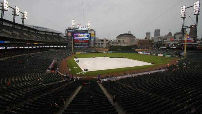 The Detroit Tigers game against the Cleveland Indians was rained out Friday, June 30, 2017 at Comerica Park in Detroit, MI.