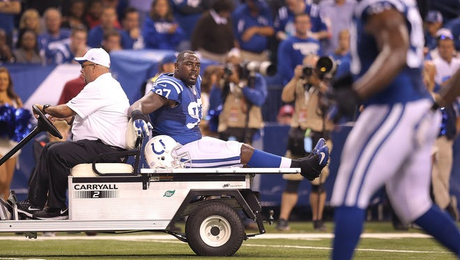 Indianapolis Colts' defensive lineman Art Jones, shown being  carted off the field during the Philadelphia Eagles' game in Week 2, has been frustrated by injuries this season.