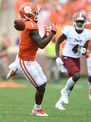 Clemson wide receiver Trevion Thompson (1) drops a pass Saturday in the 4th quarter against Troy at Clemson's Memorial Stadium.