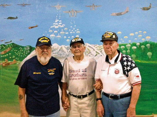 "Juan Antonio Marquez Sr., left, Maynard L. ""Beamy"" Beamesderfer, center, and Bob Chisolm are World War II veterans who will attend the D-Day ceremony."