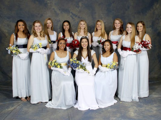 Chambersburg Area Senior High School's Color Day 2015 Court: Back row, from left: Sophomore Attendants Chloe Keyes, Hannah Goetz and Elise Stendal; Junior Attendant Kyara Lopez, Maid of Honor Ally Neidigh, Junior Attendant Kendyl Stewart; Freshmen Attendants Beatrice Schellhase, Hannah Weagley, and Cassidy Paterson; front row, from left: Senior Attendant Saige Keyes, Queen McKenna Peters and Senior Attendant Selena West. ? Submitted