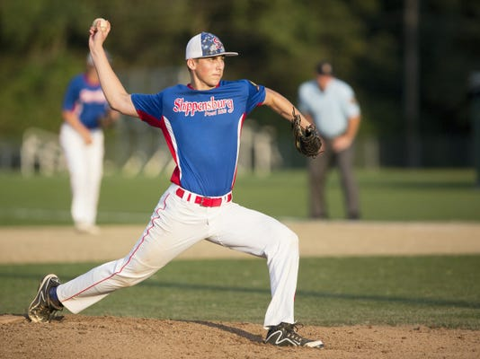 Shippensburg's Noah Auman launches a pitch at Red Land on Monday in the Region 4 American Legion tournament. Ship lost 11-3 but will return to face Linglestown in a must-win game.