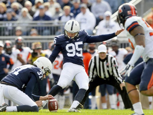 Penn State place kicker Tyler Davis kicks a field goal during the Nittany Lions 39-0 win against Illinois.