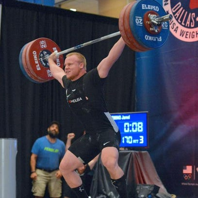 Jared Fleming of Pine City competes at the Olympic Weightlifting National Championships in August in Dallas.