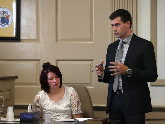 Danica Lewis, former girlfriend of Maurice Pearson is questioned by Morris County Chief Assistant Prosecutor Matthew Troiano during a pretrial hearing in Morris County Superior Court. Pearson is charged with killing his girlfriend Nicole Reagan's little son, Ty'mil in a Pine Brook motel room. June 22, 2017. Morristown, NJ.