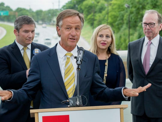 Republican Gov. Bill Haslam speaks about his road funding