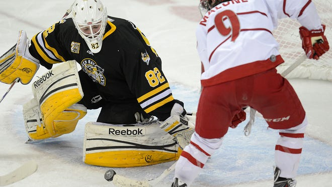 Gamblers goalie Jared Rutledge (82) makes a save against Dubuque's Seamus Malone last season. He went 25-16-4 last year.   Evan Siegle/Press-Gazette Media Green Bay Gamblers goalie Jared Rutledge (82) makes a save against Dubuque Fighting Saints forward Seamus Malone (9) in the second period during Tuesday night's USHL game at the Resch Center in Ashwaubenon. Evan Siegle/Press-Gazette Media