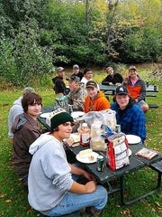 Members of the D.C. Everest Fishing team take a lunch