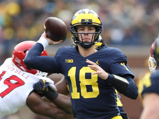 Michigan's Brandon Peters saw his first major action of his career against Rutgers on Oct. 28, 2017.