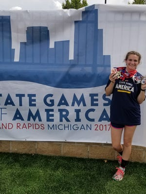 Jessica Simon, who attends Cornerstone Christian School and competes on the city of San Angelo Recreation Department summer track program, recently won three gold medals at the State Games of America in Grand Rapids, Michigan. The junior-to-be hopes to defend her TAPPS state titles in two events while competing for Cornerstone in the 2017-18 school year.