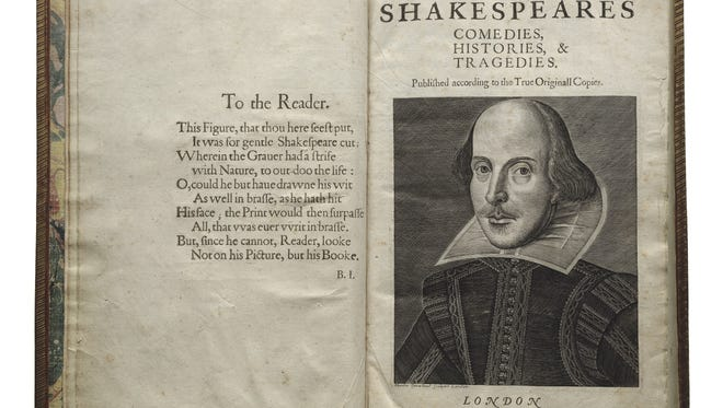 """First Folio! The Book that Gave Us Shakespeare"" is a traveling exhibit that will stop in one city only in all 50 states, Washington, DC, and Puerto Rico.  It will be in Kansas City, Mo., and Conway, Ark., beginning in June."