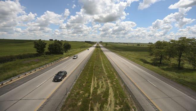 Traffic travels along Interstate 80 on Wednesday, July 16, 2014, in eastern Iowa.