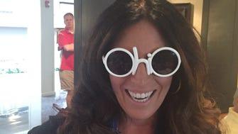 Enquirer reporter Sharon Coolidge in the OHIO sunglasses